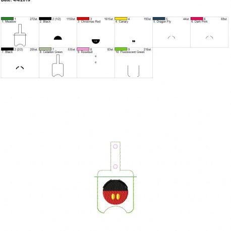 3D Mr. Mouse Sanitizer holder snap tab 5×7