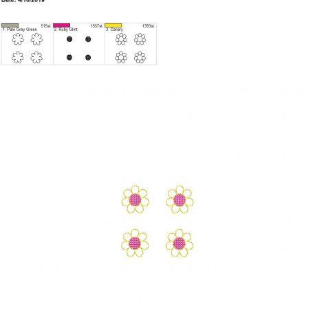 3d flower feltie for Mom design 4×4 set of 4