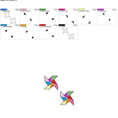 3d pinwheel feltie 4×4 grouped