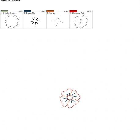 3d poppy feltie flower 4×4 single