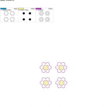 3d spring flower feltie 4×4 grouped