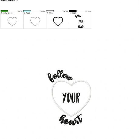 Follow your heart applique 5×7