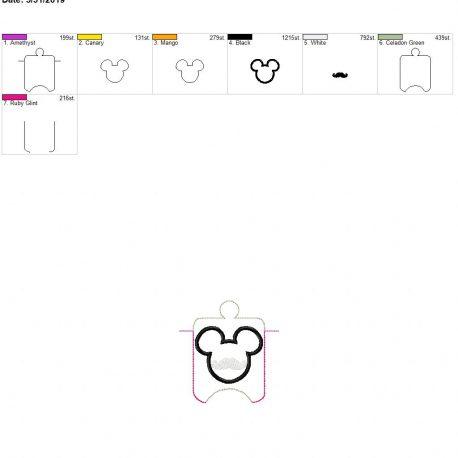 Mouse Mustache sanitizer holder eyelet 4×4