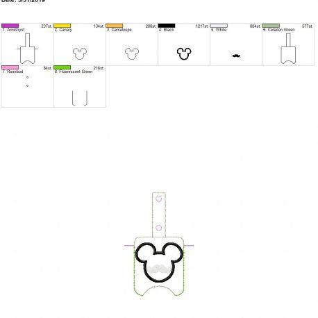 Mouse mustache Sanitizer holder snap tab 5×7
