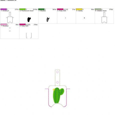 3D cactus Sanitizer holder snap tab 5×7