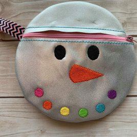 ITH – Snowman Face Zipper Bag – 3 sizes – Digital Embroidery Design