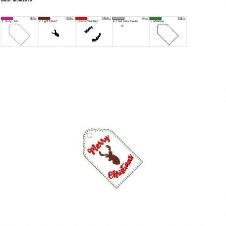 Merry Christmas Deer gift tag 4×4