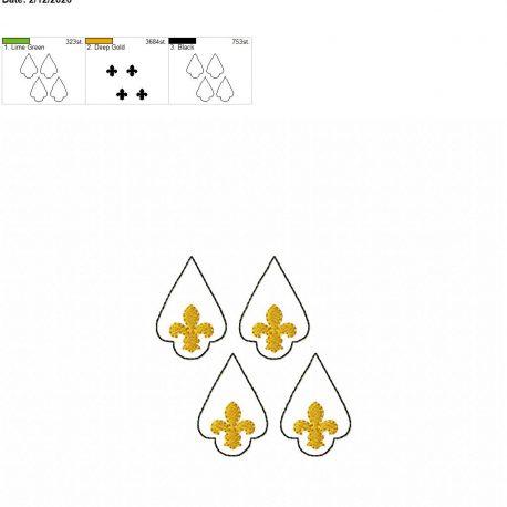 Fleur de lis earrings 1.75 inch set 4×4 grouped