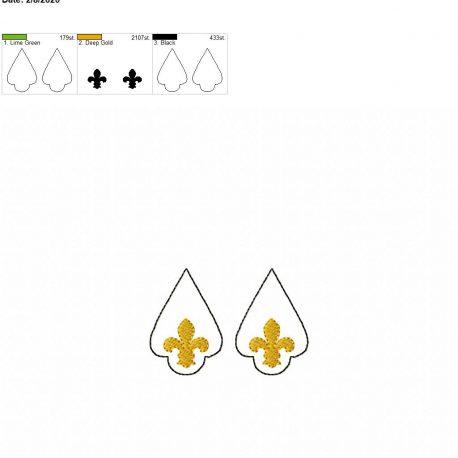 Fleur de lis earrings 2 inch set
