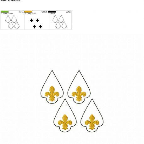 Fleur de lis earrings 2 inch set 4×4 grouped