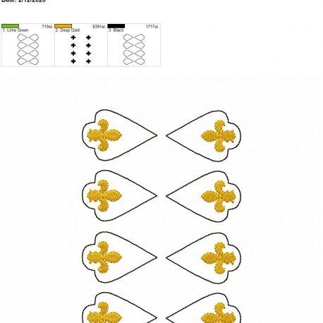 Fleur de lis earrings 2 inch set 5×7 grouped