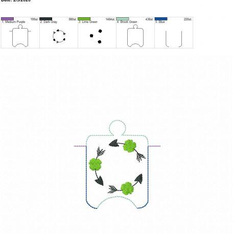 Four leaf clover frame monogram sanitizer holder eyelet 4×4