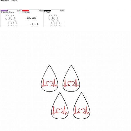 Heart EKG tear drop earrings 1.75 inch 4×4 grouped