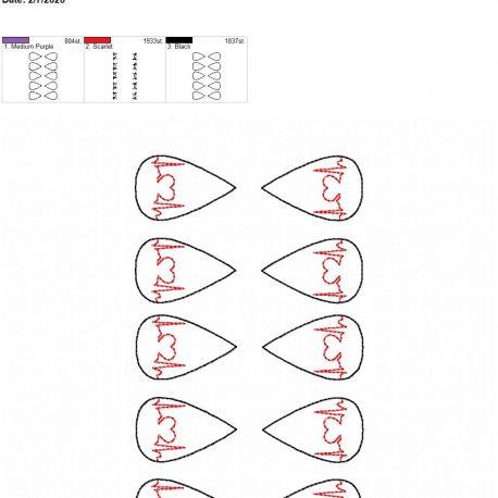 Heart EKG tear drop earrings 1.75 inch 5×7 grouped