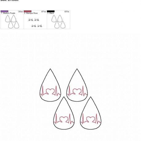 Heart EKG tear drop earrings 2 inch 4×4 grouped