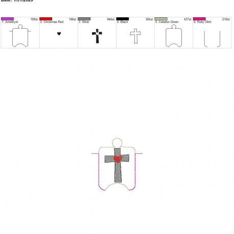 Sketch heart cross sanitizer holder eyelet 4×4