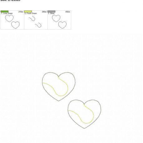 Tennis Heart feltie 2 inch 4×4 grouped