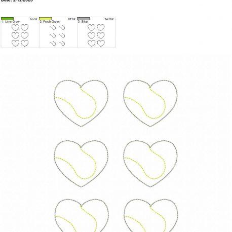 Tennis Heart feltie 2 inch 5×7 grouped