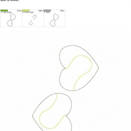 Tennis Heart feltie 3 inch 5×7 grouped
