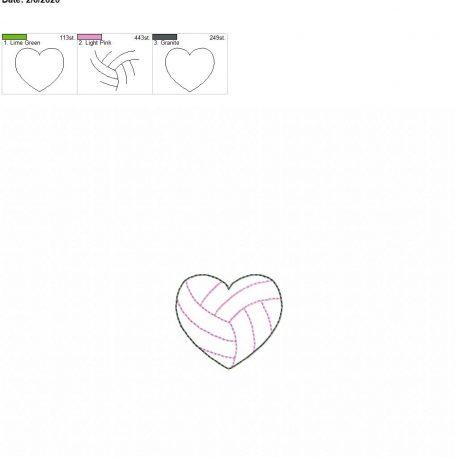 Volleyball Heart feltie 2 inch