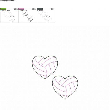 Volleyball Heart feltie 2 inch 4×4 grouped
