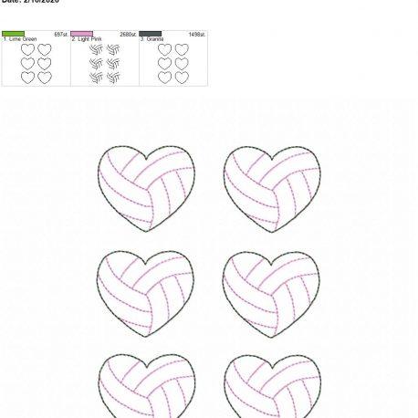 Volleyball Heart feltie 2 inch 5×7 grouped