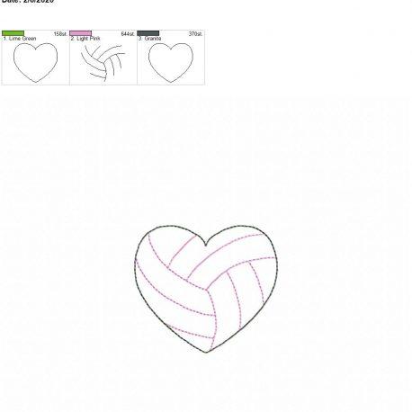 Volleyball Heart feltie 3 inch