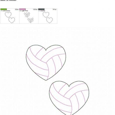 Volleyball Heart feltie 3 inch 5×7 grouped