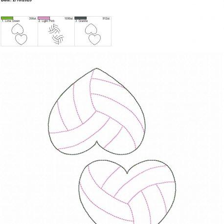 Volleyball Heart feltie 3.75 inch 5×7 grouped