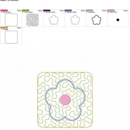 Flower mug rug 4×4