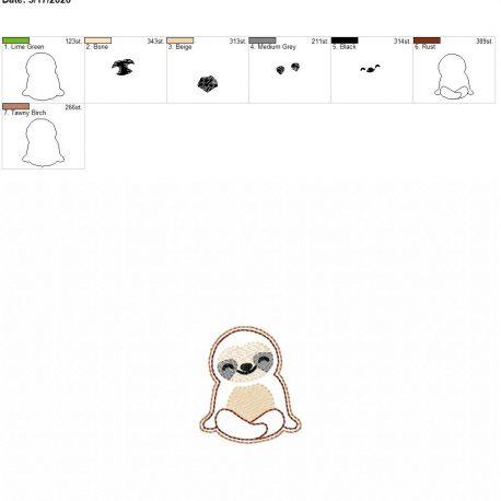 Sloth feltie 2 inch 4×4