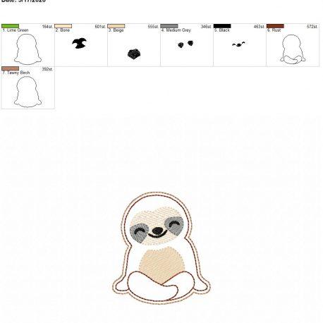 Sloth feltie 3 inch 4×4