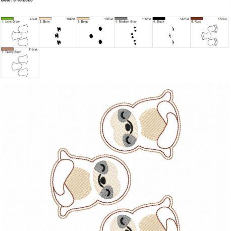 Sloth feltie 3 inch 5×7 grouped