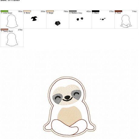Sloth feltie 3.75 inch 4×4