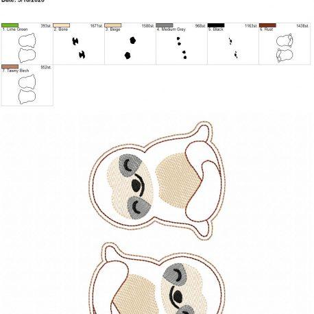 Sloth feltie 3.75 inch 5×7 grouped