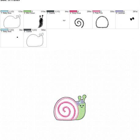 Snail Girl feltie 2 inch 4×4