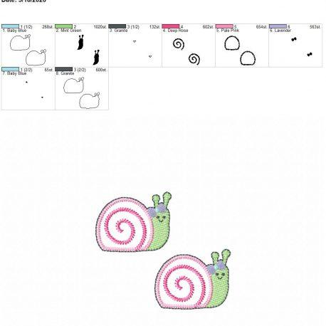 Snail Girl feltie 2 inch 4×4 grouped
