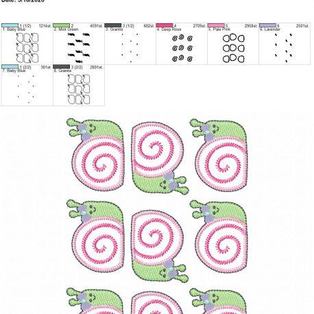 Snail Girl feltie 2 inch 5×7 grouped