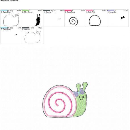 Snail Girl feltie 3 inch 4×4