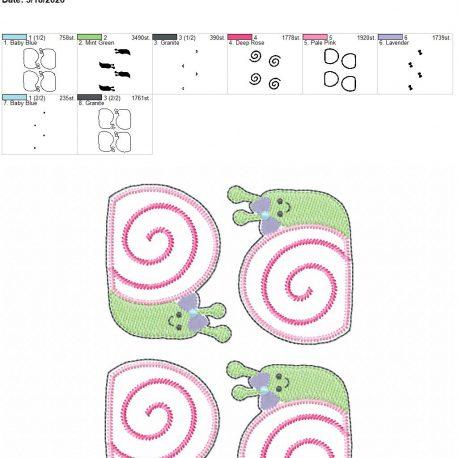 Snail Girl feltie 3 inch 5×7 grouped