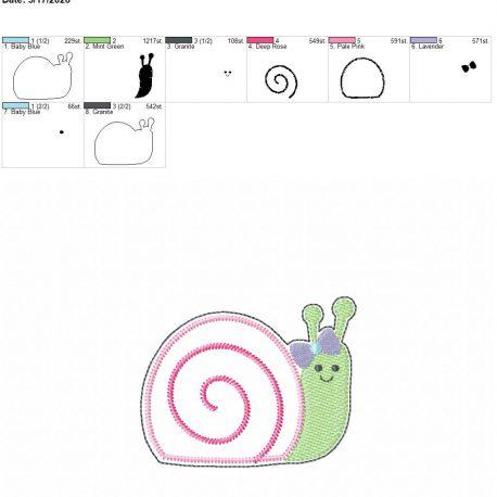 Snail Girl feltie 3.75 inch 4×4