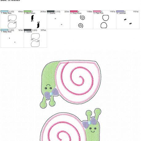 Snail Girl feltie 3.75 inch 5×7 grouped