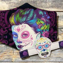 ITH Mask Extender Sugar Skull- 2 sizes – DIGITAL Embroidery DESIGN