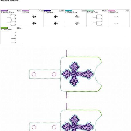Cross Sanitizer holder snap tab 5×7 grouped