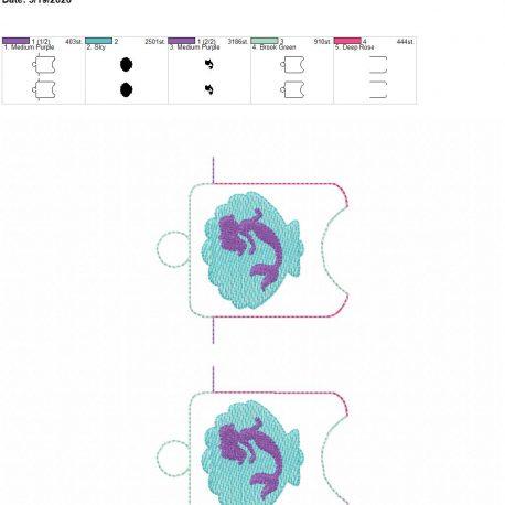 Mermaid shell sanitizer holder eyelet 5×7 grouped
