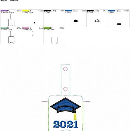 Grad 2021 Sanitizer holder snap tab 5×7