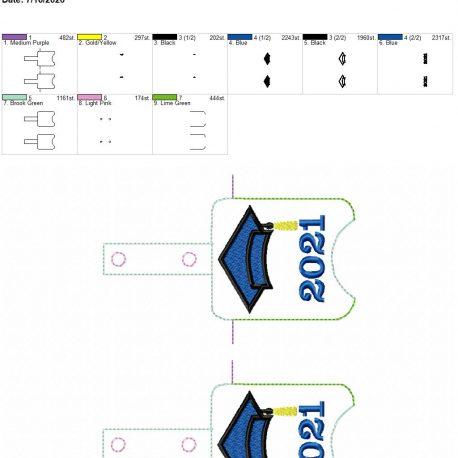 Grad 2021 Sanitizer holder snap tab 5×7 grouped
