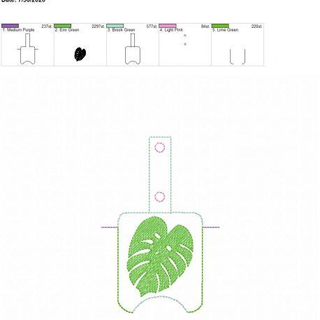 Monstera Leaf Sanitizer holder snap tab 5×7