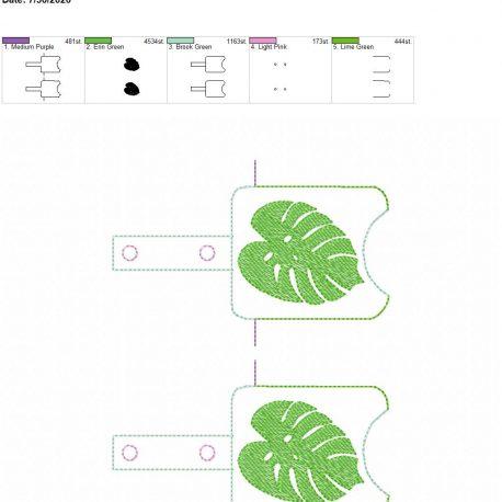 Monstera Leaf Sanitizer holder snap tab 5×7 grouped