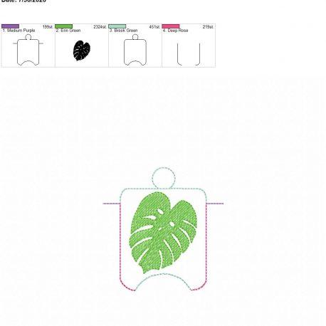 Monstera Leaf sanitizer holder eyelet 4×4
